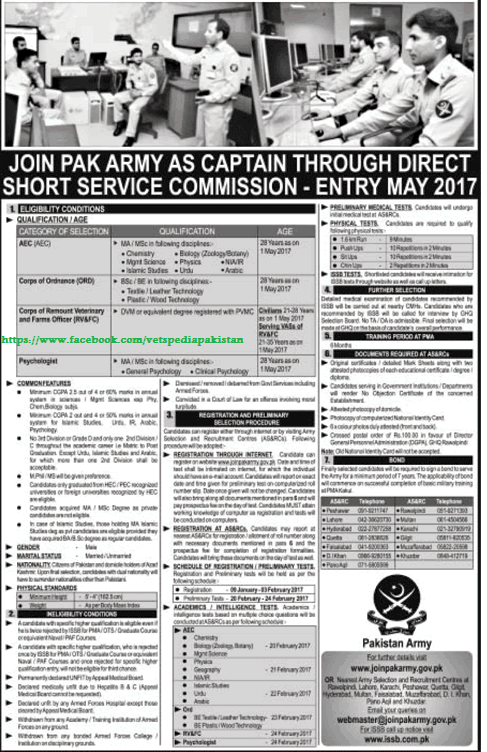 LATEST JOBS: Join Pak Army as a captain for Veterinarian