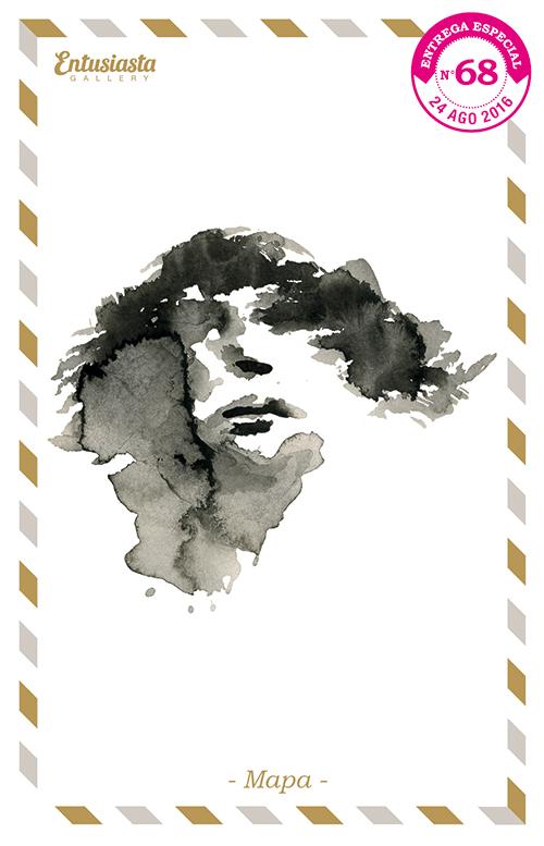 Mapa donde se ve una cara. Ilustración de David Pugliese. www.davidpugliese.com