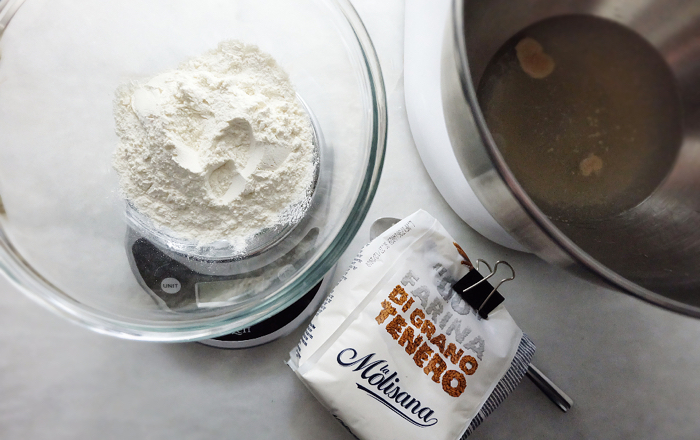 weighing flours with scale