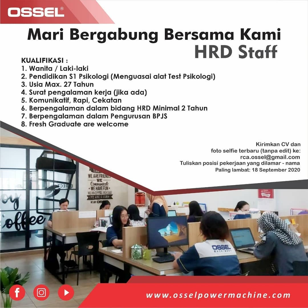Lowongan Semarang Sebagai HRD Staff Mesin OSSEL Semarang