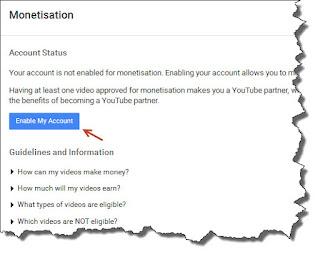 Mengaktifkan monetisasi youtube