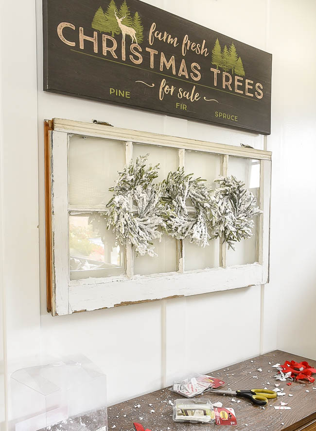 Hanging wreaths on windows with Command Strips