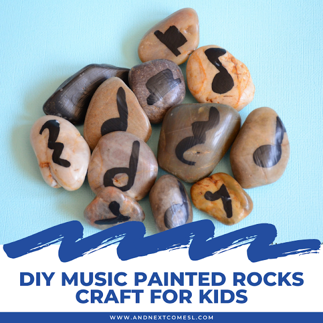 DIY music painted rocks craft for teaching music theory to kids