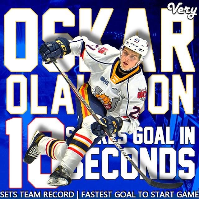 Oskar Olausson Breaks Barrie Colts Record for Fastest Goal.