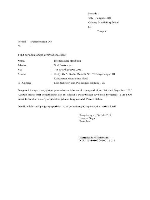 Contoh Surat Pengunduran Diri Sederhana (via: contoh123.info)