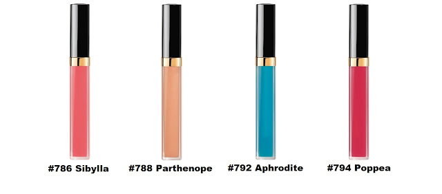 Chanel ROUGE COCO GLOSS: #786 Sibylla, #788 Parthenope, #792 Aphrodite и #794 Poppea