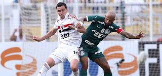 O atacante Pablo (à esq.) e o volante Felipe Melo em clássico São Paulo x Palmeiras em 2019