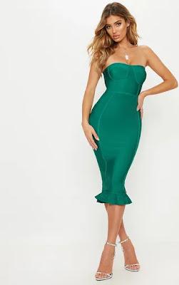 Green Bandge Frill Hem Midi Prom dress front side