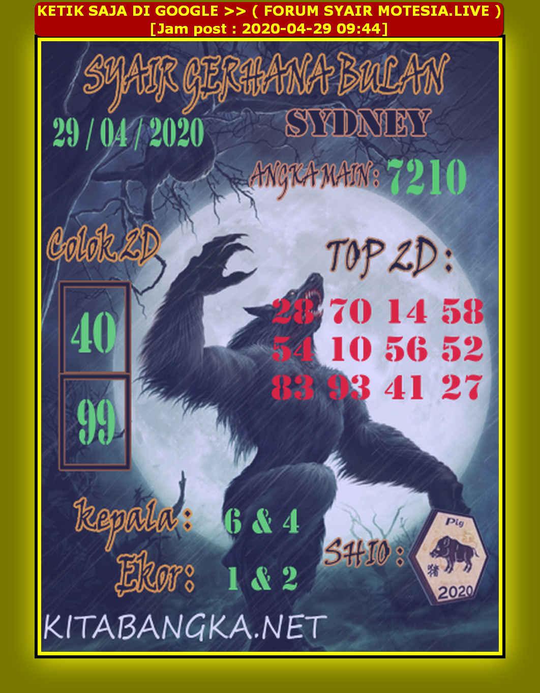 Kode syair Sydney Rabu 29 April 2020 72