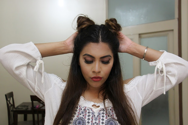 twin buns- heat 2 minute hairstyle