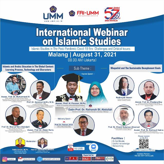 Fakultas Agama Islam UMM Adakan Webinar Internasional Studi Islam dengan Sepuluh Narasumber dari Enam Negara Berbeda