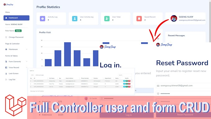 Admin dashboard in Laravel 8.XX Full Controller User