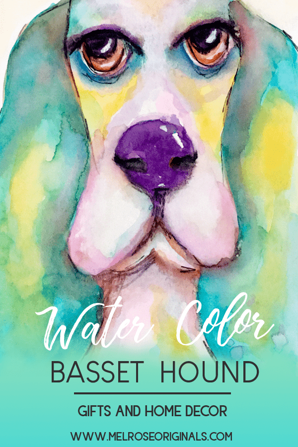 Colorful Watercolor Basset Hound image