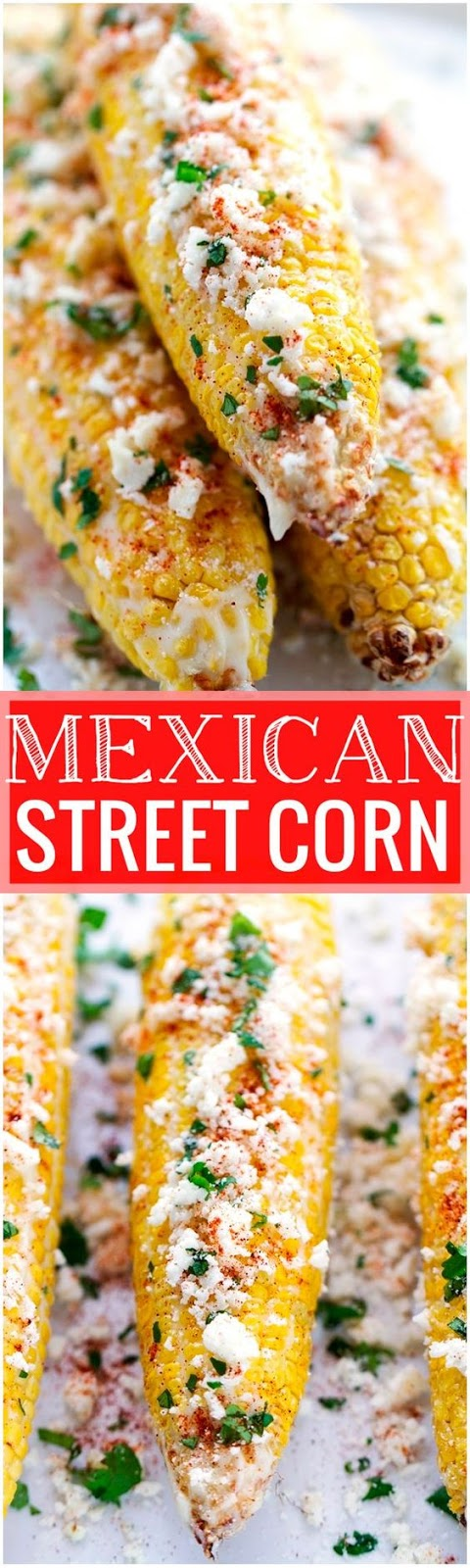 The perfect corn on the cob recipe for this summer! Learn how to make Mexican Street Corn at home, it's so easy to make! You can grill it or make it in the oven with a garlic mayo, lime juice, cotija cheese, and chili powder for a little heat. Serve it for a barbecue party or enjoy them as a snack!