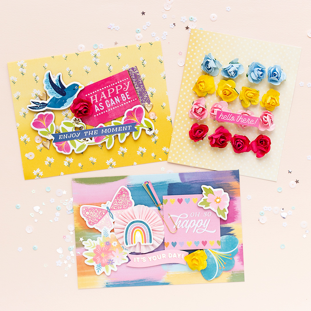 Three fun summer cards with the Wonders Collection by Paige Evans for American Crafts