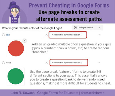 Prevent cheating in Google Forms: use page breaks to create alternate assessment paths