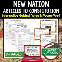 New Nations, Articles of Confederation, American History Guided Notes, American History Interactive Notebook, Google and Print, American History Note Taking, American History PowerPoints, American History Anticipatory Guides