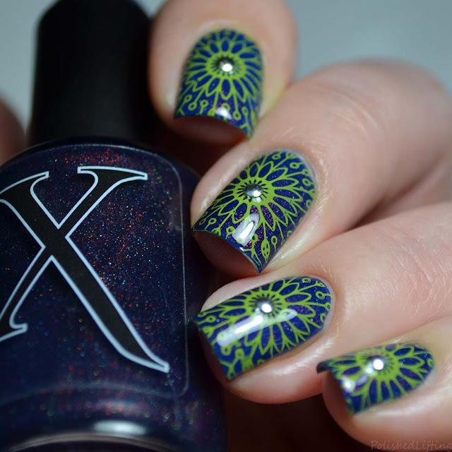 neon flower nail art