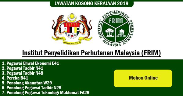 jawatan kosong 2018 Institut Penyelidikan Perhutanan Malaysia
