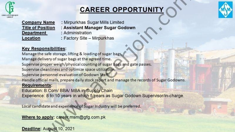 Mirpurkhas Sugar Mills Ltd Jobs Assistant Manager
