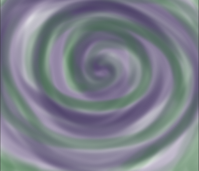 ID: green, purple, and light gray spiral together in overlapping swirls.