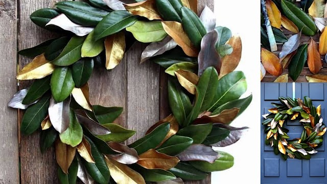 DIY Διακοσμητικά στεφάνια με φύλλα Μανόλιας