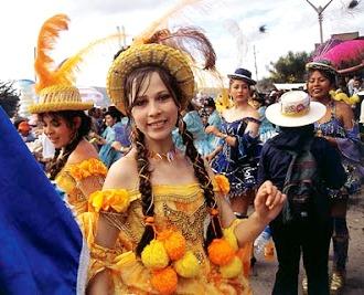 Foto de mujeres bailando la Morenada en la Fiesta de la Virgen de la Candelaria
