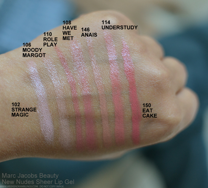 Marc Jacobs New Nudes Sheer Lip Gel Neutral Lipsticks Swatches 102 Strange Magic 108 Have We Met 114 Understudy 150 Eat Cake 110 Role Play 146 Anais 106 Moody Margot