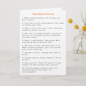Funny Crazy Wacky Must Do Pranks Humor To Do List Card