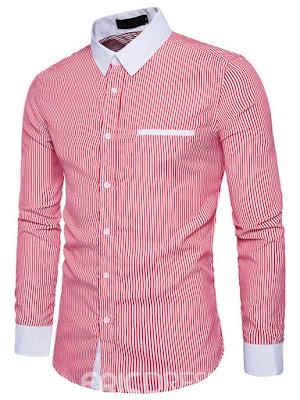 Ericdress Lapel Stripe Men's Casual Shirt