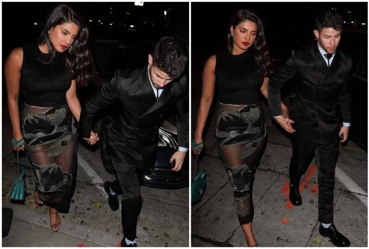 Priyanka Chopra Oops Moment Transparent Dress Along With Husband Nick Jonas