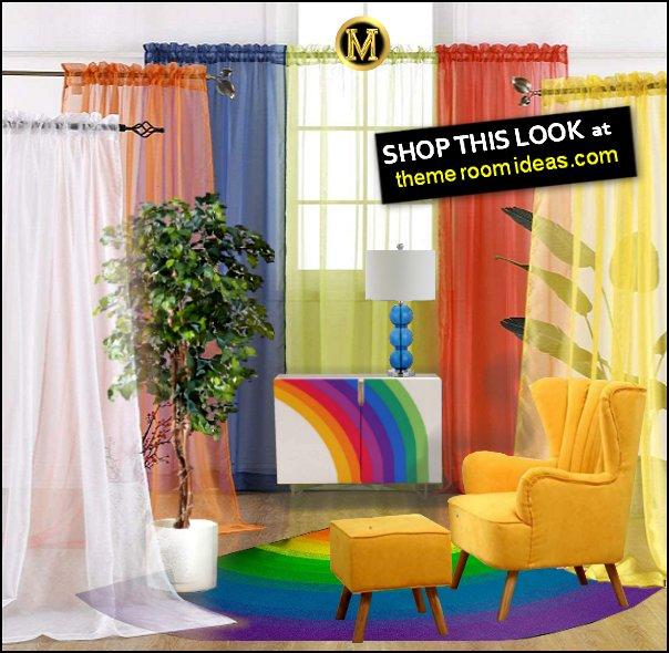 Rainbow Sheer Window Panel Rainbow  Drapes Rainbow  Curtains