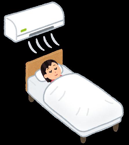 エアコンを付けて寝る人のイラスト