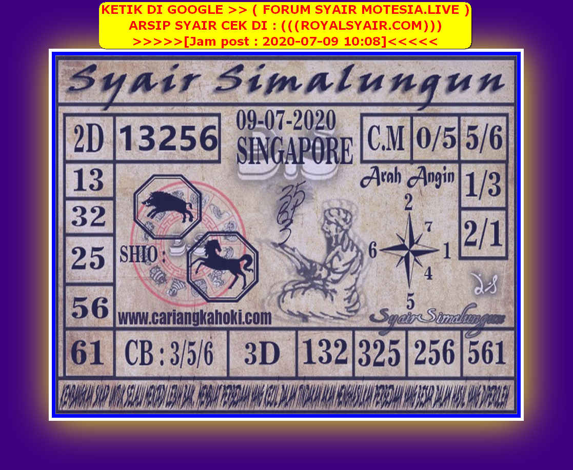 Kode syair Singapore Kamis 9 Juli 2020 179
