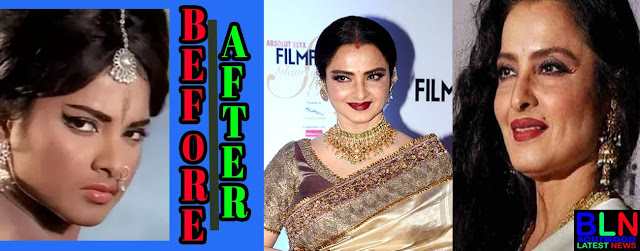 REKHA Bollywood Actresses Before and After Plastic Surgery