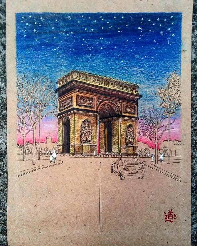 06-Arc-de-Triomphe-D-Oquendo-Colored-Architectural-Urban-Sketches-www-designstack-co