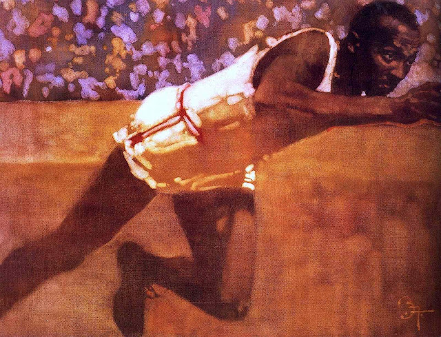 a 1965? Bernie Fuchs illustration of Jesse Owens winning 4 gold records at the 1939 Olympics