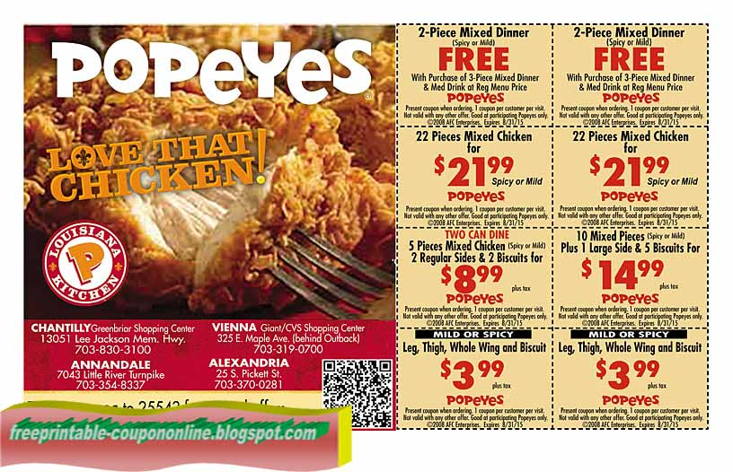 image regarding Popeye Coupons Printable called Popeyes fowl coupon codes july 2019