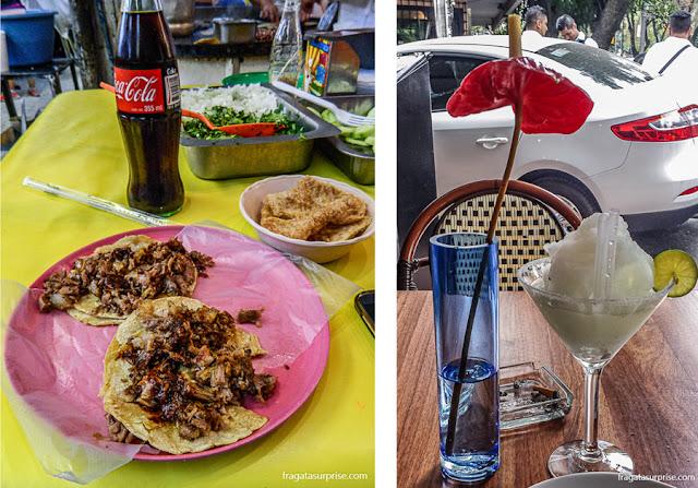 Carnitas, prato popular típico do México, e margarita, drinque típico