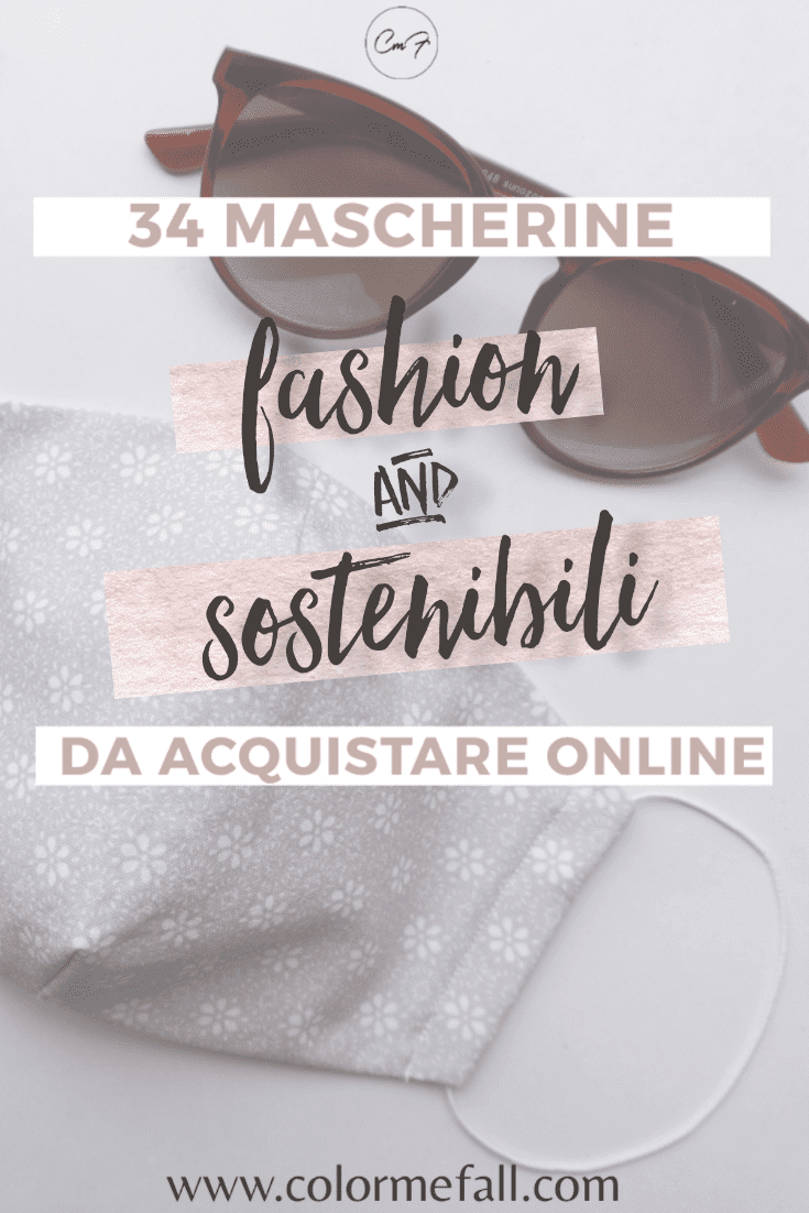grafica per pinterest mascherine fashion da acquistare con sfondo di occhiali da sole e mascherina color lavanda a fiori