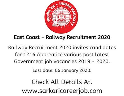 East Coast Railway Recruitment 2020 - Apprentice.