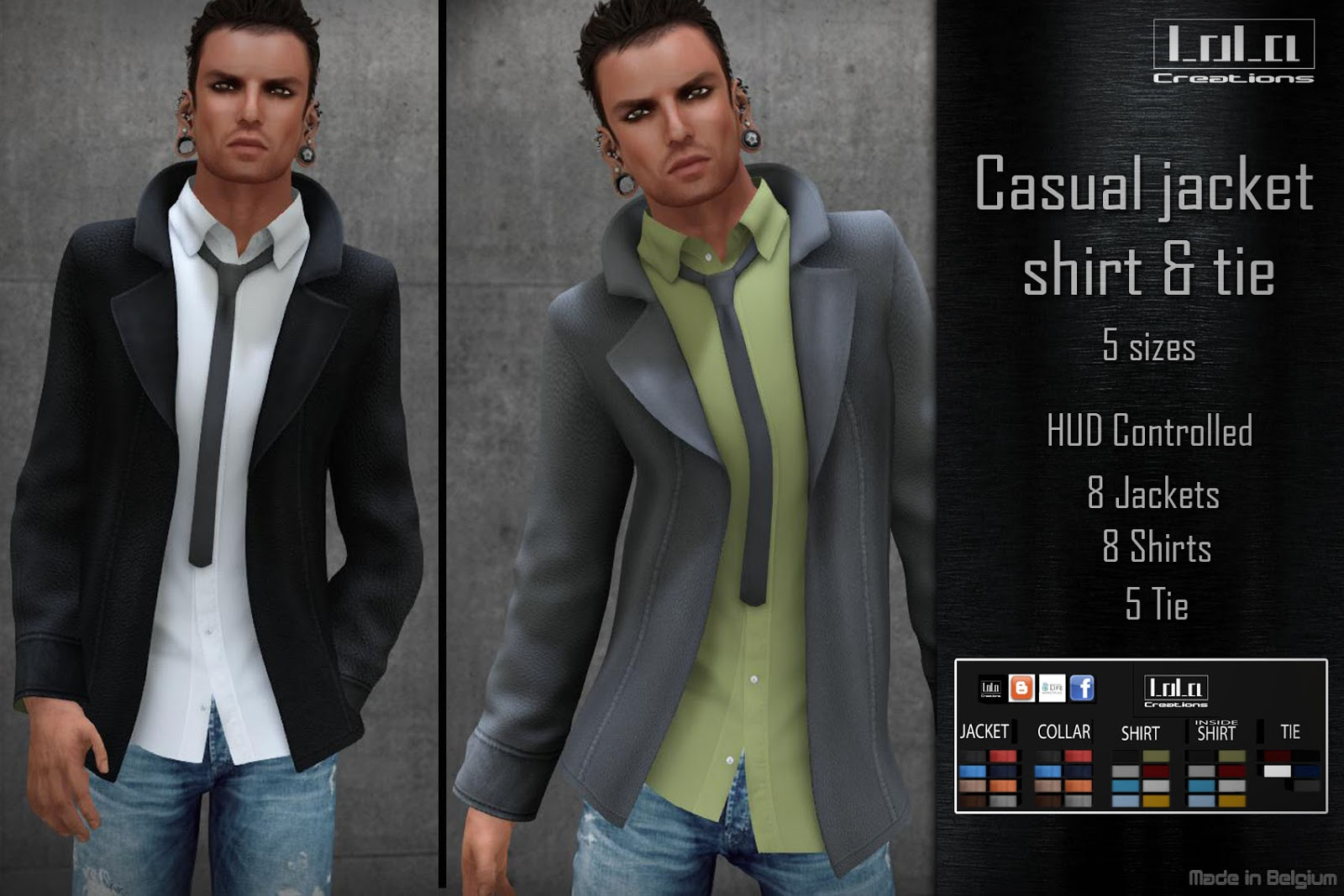 Lola Creations Casual Leather Jacket With Shirt And Tie