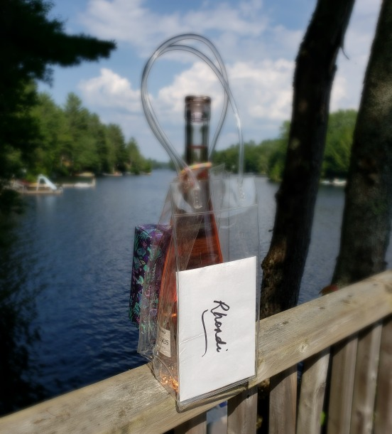bottle of wine gift at Big Orillia Lake