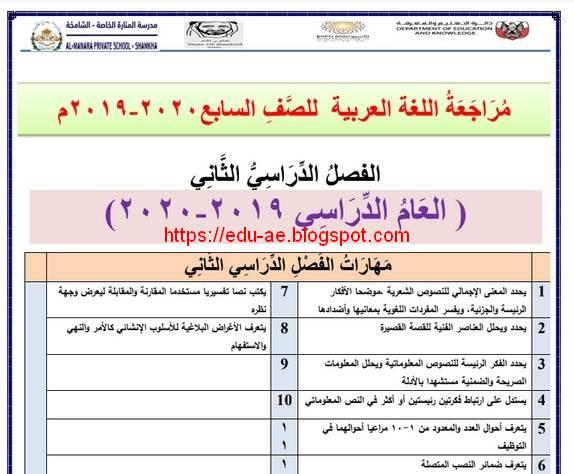 مذكرة مراجعة اللغة العربية للصف السابع الفصل الثانى 2020 الامارات