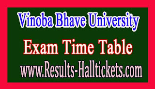 Vinoba Bhave University MCA IIIrd & Vth Sem Sem CBCS Exam Time Table