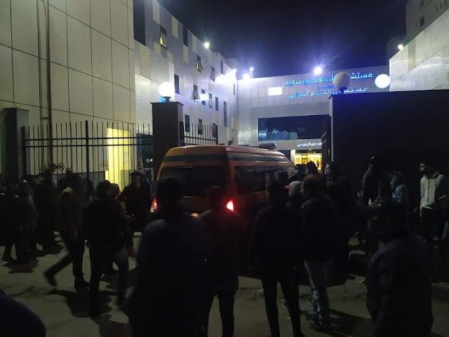 وصول جثمان الشهيد الثاني بحادث اللنش البحري بمستشفي السلام ببورسعيد