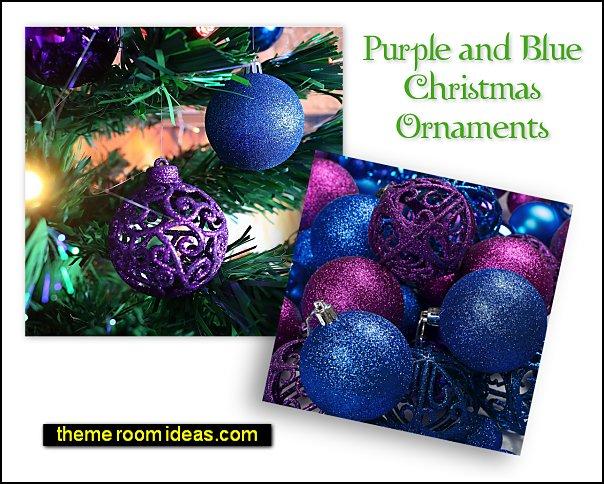 Purple and Blue Christmas Ornament Balls Christmas Tree decorations peacock color christmas decor peacocks christmas