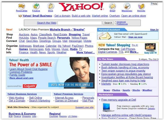 The Evolution of Websites: How popular websites used to look - Yahoo