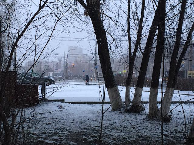 Февральская метель, городской пейзаж в снежную метель
