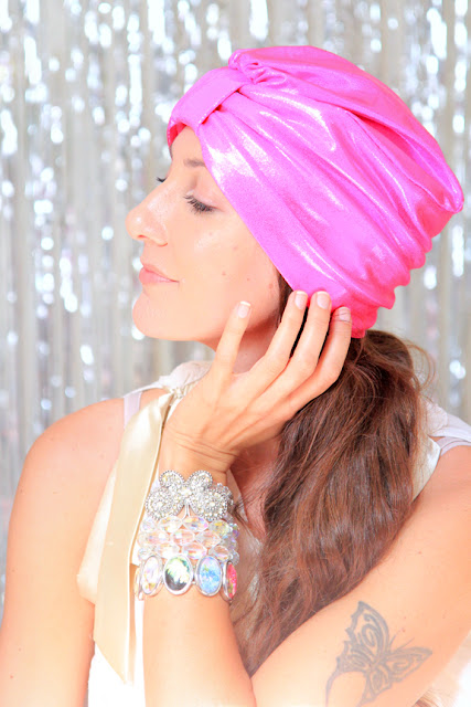Hot Pink Metallic Turban by Mademoiselle Mermaid